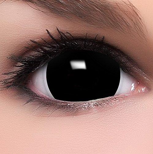 Farbige Mini Black Sclera Kontaktlinsen Lenses inkl. 10ml Kombilösung und Behälter, in schwarz, weich ohne Stärke, 2er Pack - Top-Markenqualität, angenehm zu tragen und perfekt zu Halloween oder Karneval