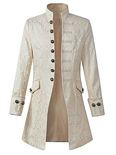 Pxmoda Mens Gothic Tailcoat Jacket Steampunk Victorian Tuxedo Uniform Halloween Costume Coat