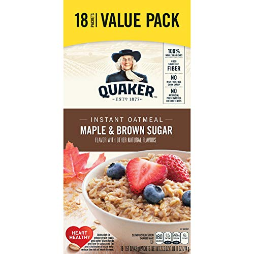 (Quaker Instant Oatmeal, Maple and Brown Sugar, 18 Count)