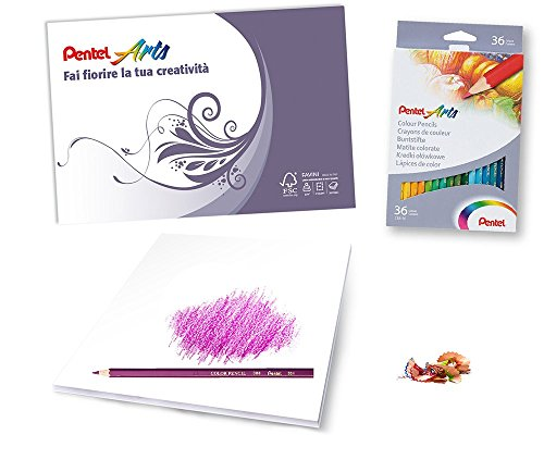 (Pentel CB8Pentel CB8Coloured Pencils Pack of 36& Drawing Favini Tribute Album,)
