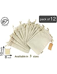 Organic Cotton Muslin Produce Storage Bag with Drawstring, Medium 8x10 inch, Sachet Bags, Canvas Bags, Biodegradable Grocery Shopping & Household Organizing, Gift Bags/Ideas, 12 count pack Leafico