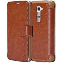 LG G2 Case Wallet - Mulbess [Layered Dandy][Coffee Brown] - [Slim][Wallet Case] - Premium Leather Flip Case With Credit Card Slot for LG G2