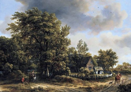 Meyndert Hobbema Wooded Landscape with Travellers - 18.1