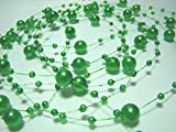 10 Yard: Bead Pearl String 3 and 8 Mm (Green)