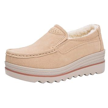 Oudan Botas Mujer Zapatos Mujer Botas Pisos Muffin Zapatos Zapatillas de Cuero Zapatos Casuales Creepers Mocasines Botas Tacones de cuña Botines (Color ...