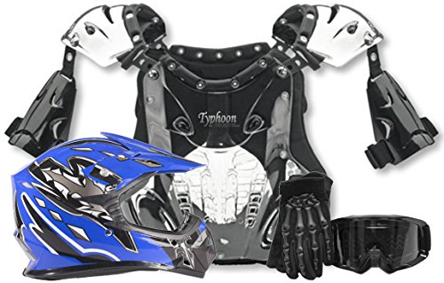 Kids Youth Offroad Helmet Gloves Goggles Chest Protector GEAR COMBO Motocross ATV Dirt Bike MX Black Blue (Small)
