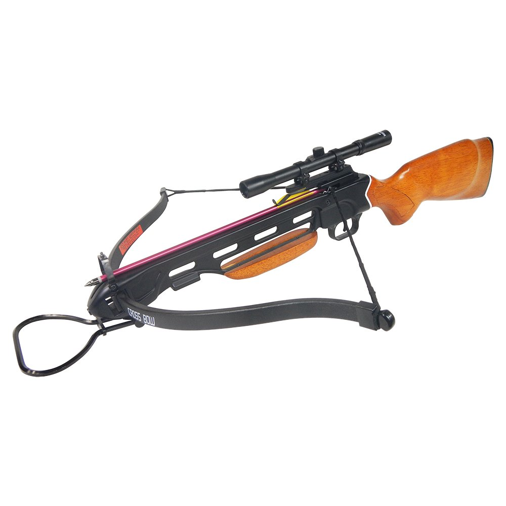 150 lb Wood Hunting Crossbow Bow + 4x20 Scope + 7 Bolts/Arrows + Rope Cocking Device 180 175 80 50 lbs