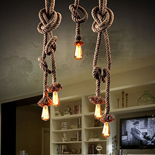 Hemp Rope Ceiling lamp lights, Large Rope Vintage style Industrial Edison Pendant light special Swag Light for Bedroom /Dining/Kitchen/ Living Room