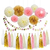 Lansian 30PCS Tissue Paper Pom Pom Flowers Pink White Gold Tassel Garland Banner for Mothers Day Wedding Birthday Graduation Baby Shower Decorations Party Supplies