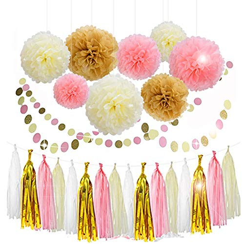 Lansian 30PCS Tissue Paper Pom Pom Flowers Pink White Gold Tassel Garland Banner for Wedding Bridal Birthday Graduation Baby Shower Decorations Party Supplies -