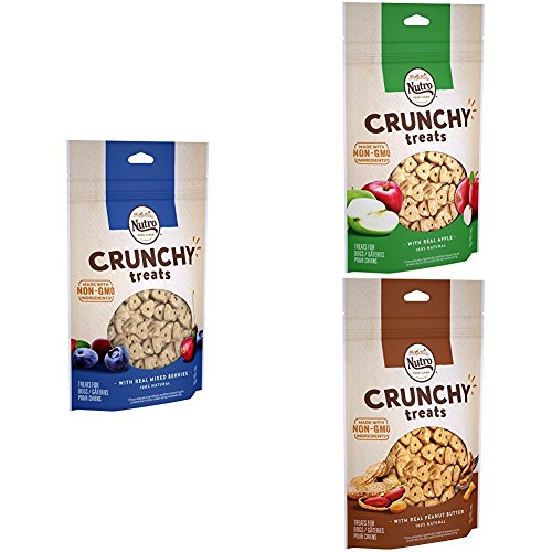 NUTRO Crunchy Dog Treats Mixed Berry, Peanut Butter & Apple, 10 oz. Bag (Pack of 3)