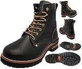 Men's Black Oil Full Grain Leather Oil Resistant Motorcycle / Work / Construction Boots Sizes 5-13