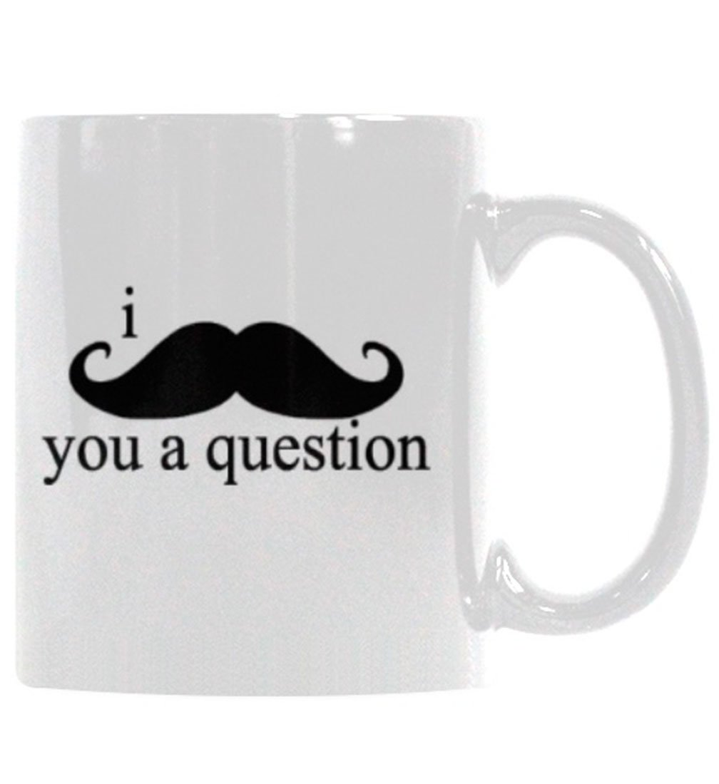 Buy Comcl I Mustache You A Question Coffee Mug Double Sided Ceramic Cup With C Handle 11 Oz White Online At Low Prices In India Amazon In