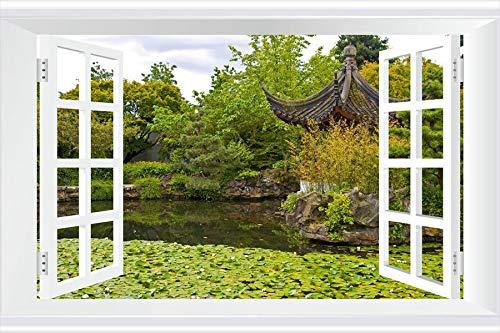 SHOBRILF Dr. Sun Yat-Sen Classical Chinese Garden - Nature - #34028 - Art Print 3D Fake Windows Wall Stickers Removable Poster Wall Decor for Livingroom Bedroom 24x16 inches (Dr Sun Yat Sen Classical Chinese Garden)