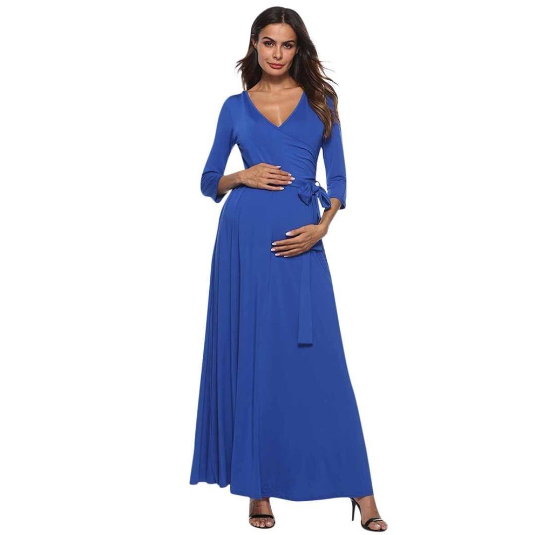 Vestidos Largos Verano Fiesta, 💕 Zolimx Mujeres de Embarazo V-Cuello Alto Vestido de Cintura Boho Lino Maternidad Cinturón de Cintura Faldas Baratos Mujer ...