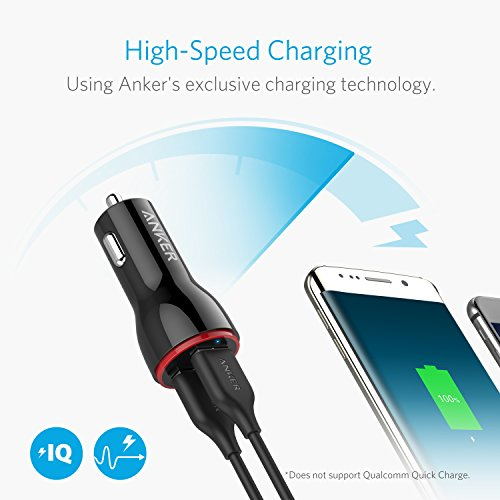 Car Charger, Anker 24W Dual USB Car Charger Adapter, PowerDrive 2 for iPhone XS/MAX/XR/X/8/7/6/Plus, iPad Pro/Air 2/Mini, Note 5/4, LG, Nexus, HTC, and More
