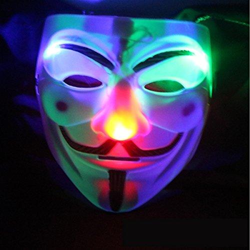 [V character light mask Halloween carnival atmosphere performance mask LED arrangement props] (Contact Lenses Costume)