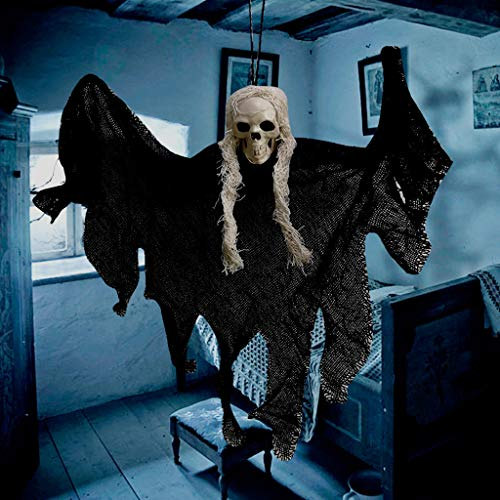 Saitingdianzi Hanging Grim Reaper, Skeleton Ghost in Horror Robe, Halloween Hanging Decorations, Hanging Ghost House Decor (Black)