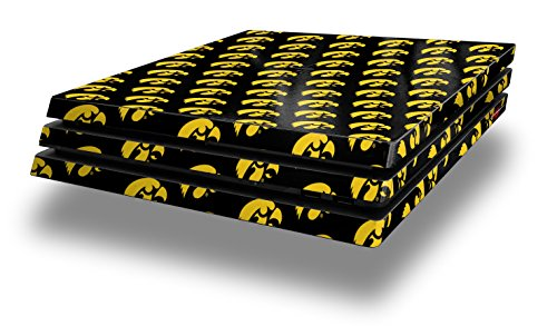 PS4 Pro Skin Wrap Iowa Hawkeyes Tigerhawk Tiled 06 Gold on Black - Decal Style Skin fits Sony PlayStation 4 Pro Console