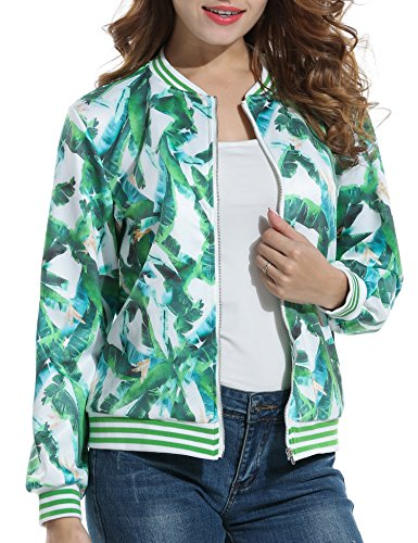 ACEVOG Women's Full-zip Print Packable Floral Printed Short Down Jacket Coat (Green XL) (Print Satin Coat)