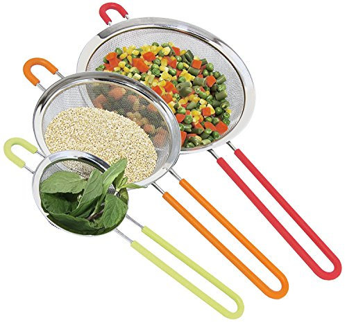 - K BASIX Fine Mesh Stainless Steel Strainer with Silicone Handle Set of 3 - Large, Medium & Small Size - Ideal to Strain Pasta, Noodles, Quinoa, Tea, Sift & Sieve Flour & Powdered Sugar - Free EBook