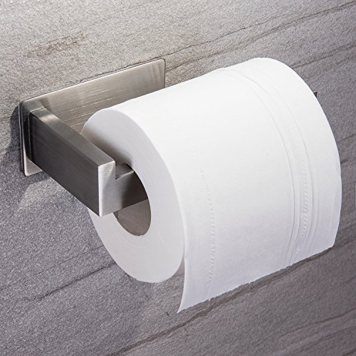 YIGII Toilet Paper Holder Adhesive - 3M Self Adhesive Toilet Tissue Holder for Toilet Roll Bathroom Stick on Wall Stainless Steel Brushed (Holder Wall Roll Toilet)