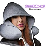 Good Head Neck Travel Privacy Pillow Memory Foam, Stylin Hoody Hoodie, Detachable Washable Adjustable Relax with More Privacy on Airplanes Cars or Anywhere
