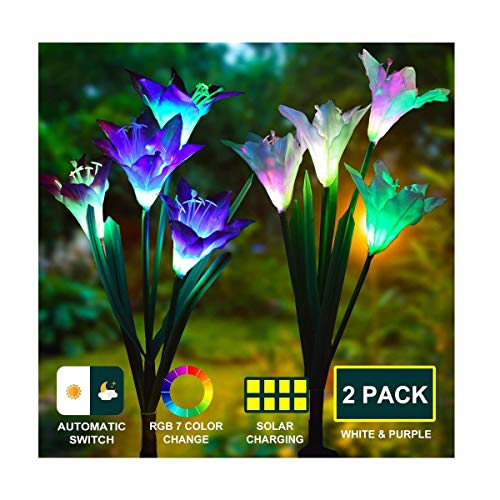 J JHOUSELIFESTYLE Lily Solar Light Outdoor Solar Garden Stake Lights 2 Pack,Multi-Color Changing Garden Solar Lights,Solar Yard Ornaments and Lighted Yard Decorations - Purple and White Lily