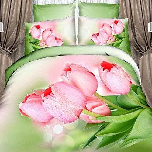 3d Cotton Bedding Set of Four Pieces of Printed Version of Gucci Activity Takes Four Sets (Tulip Love) by skilled prouducts