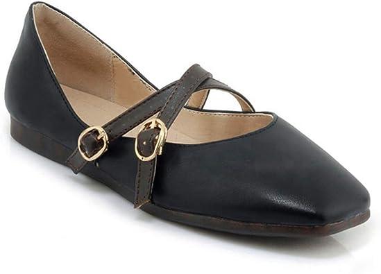 Womens Classic Pointy Toe Ballet Flats Buckle Design Slip On Ballerina Walking Flat Shoes