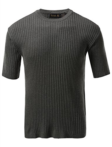 7 Encounter Men's Crewneck Short Sleeve Large Ribbed Sweater Sage XL ()