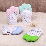 Teething Mitten | Anti-Scratch Baby Teething Mitt | for Self Soothing Gum Relief | 3-12 Months - Baby Shower Gift Prevents Scratching | (Pink)