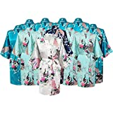 Floral Bridal Party Bride & Bridesmaid Robe Sets, Sizes 2 To 20 (Set Of 12)