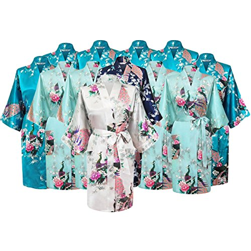 Floral Bridal Party Bride & Bridesmaid Robe Sets, Sizes 2 To 20 (Set Of 12) by Gifts Are Blue
