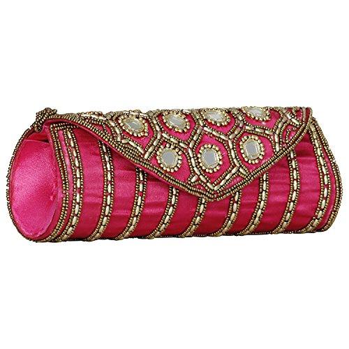 Dark Cerise Jaipuriya Hand Sizzling Women Style Wedding Clutch Cum q7S0gZFg