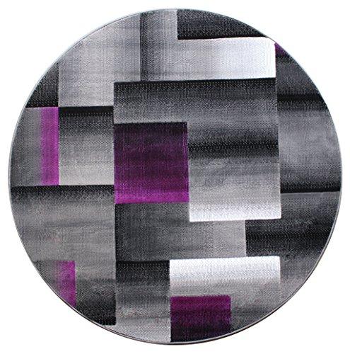 Masada Rugs, Modern Contemporary Round Area Rug, Purple Grey Black Round