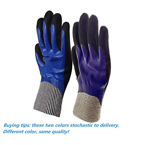 5 Level Cut-Resistant Waterproof Safety Protect Hand Gloves Nitrile and Latex Dual Palm Coated for Gargen work, Industrial production, Glasses handling, Indoor and Outdoor working (L-2pairs) by Safety Hands (Image #3)