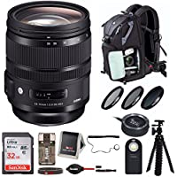 Sigma 24-70mm f/2.8 DG OS HSM Art Lens with Sigma USB Dock and Advanced Photo and Travel Bundle (For Nikon)