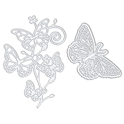 eborder Metal Cutting Dies Stencil Template Butterfly Cut Dies Set for DIY Scrapbook Album Paper Card Craft Decoration?2 Pieces
