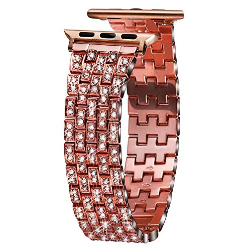 VIQIV Bling Bands for Compatible Apple Watch Band 38mm 40mm 42mm 44mm iWatch Series 4 3 2 1, Dressy Diamond Bracelet Rhinestone Metal Wristband Strap for Women Rose ()