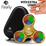 FIREFLY Premium Prime Lighted LED Fidget Spinner with Custom Protective Case by Helium K - Light Up Spinning Fidget Toys For Kids & Adults - Relax From Stress & Anxiety (GOLD)