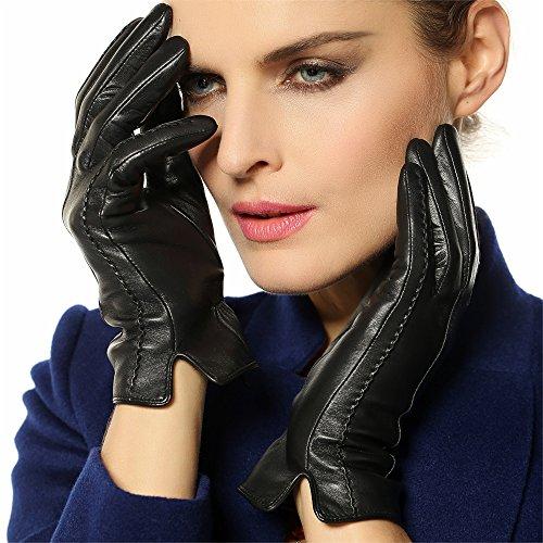 WARMEN Classic Women's Geniune Leather Winter Warm Gloves Simple Sytle (S, Black)