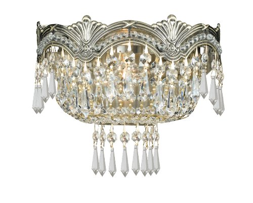 Crystorama Lighting Group 1480-CL Majestic 2 Light Swarovski Strass Crystal Scon, Historic Brass / Hand - Brass Strass Crystal Swarovski