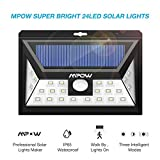 Mpow Solar Lights for Home , 24 LED Super Bright Motion Sensor Street Lights with Wide Angle Design and 3 Intelligent Modes, IP65 Waterproof Solar powered Lamps for Security Outdoor Lighting,Yard,Patio,Garden,balcony,Driveway,Garage,Walkway