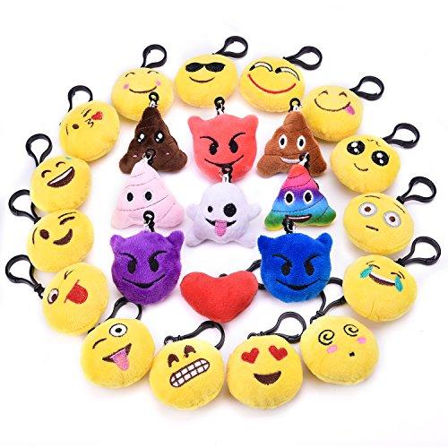 - 24 PCs Emoji Key Chain Mini Plush Pillows Toys for Christmas Tree Decorations, Emoji Party Decorations, Kids Christmas Prizes and Stocking Stuffers