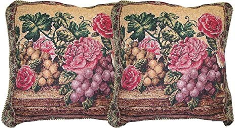 DaDa Bedding DP-14426 Parade of Fruit and Rose Woven Decorative Pillows, 18 by 18-Inch, Set of 2