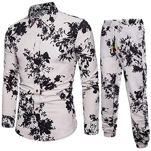 Mens 2 Pieces African Print Dashiki Shirts with Elastic Drawstring Pants Casual Tracksuit Set (White-3, Medium)
