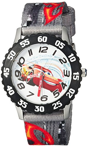 Disney Boy's 'Cars 3' Quartz Stainless Steel and Nylon Casual Watch, Color:Grey (Model: WDS000297)
