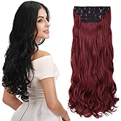 "REECHO 24"" Curly Wavy Long 4 PCS Set Thick Clip in on Hair Extensions Wine Red"