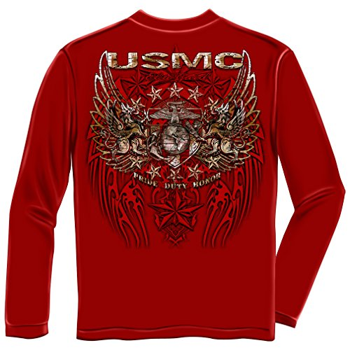 Sleeved Star (US Marine Corps Long Sleeve T-Shirts, 100% Cotton Casual Mens Shirts, Show Your Pride With Our Pride Duty Honor Stars Silver Foil Hunden Long Sleeve Shirts for Men or Women (Large))